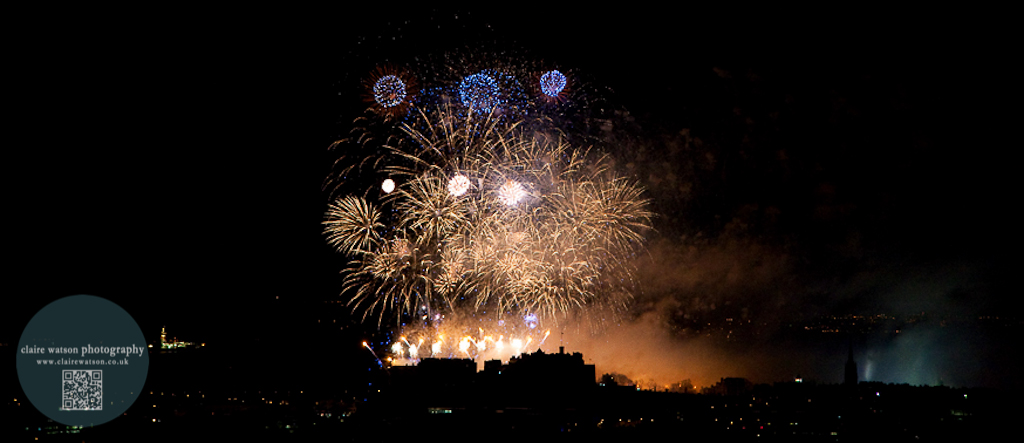 Edinburgh castle silhouette with fireworks